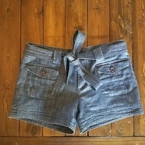 Adorable Pocketed Jean Shorts with Tie Waistband